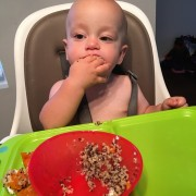 Baby Eating Black Beans, Butternut Squash and Quinoa