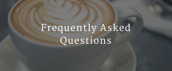 graphic for integrative & functional nutrition frequently asked questions with coffee cup