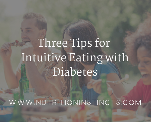 Title graphic with people smiling for a blog on tips for intuitive eating with diabetes