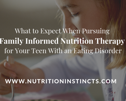 Title graphic for family informed therapy for teens with eating disorders blog on Nutrition Instincts website