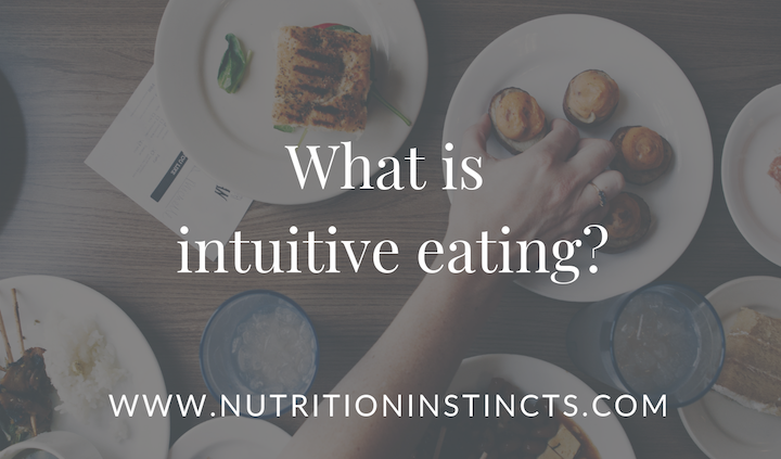 blog graphic with title what is intuitive eating and nutritioninstincts.com