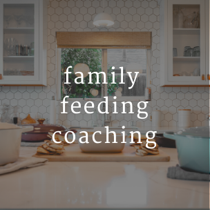 graphic with photo of white kitchen with text for family feeding coaching service