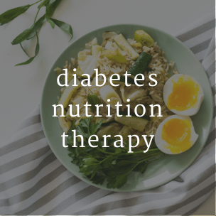graphic with meal and text that says diabetes nutrition therapy